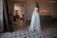 Wholesale Sweatheart Backless Wedding Gowns - TARIK EDIZ Overskirts Lace Tulle Wedding Dresses Sweatheart Wedding Gowns Bridal Gowns Sweep Train Bridal Dresses