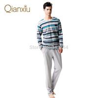 men cotton pajamas set - Qianxiu Brand Pajamas Casual Stripes Men Pajama Set Plus Size Sleepwear Modal Cotton Home Dress for men