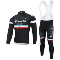 bianchi - 2014 bianchi men cycling Jersey suits in winter autumn with long sleeve bike jacket bib pants in cycling clothing bicycle wear