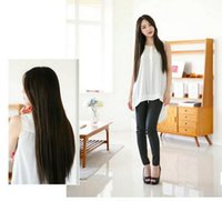 Wholesale 4 Color Stylish Lady cm long straight wig synthetic human hair wig