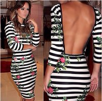 Wholesale 2015 Hot Sexy Stripe Print Dress Crew Long Sleeve Sheath Open Backless Casual Dresses Cheap Women s Clothing Prom Party Dress