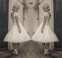 Wholesale 2014 High Quality Jewel Neck Short Sleeve Vintage Lace Wedding Dresses Ribbon Sash Tea Length A Line Short Bridal Gowns Custom Made