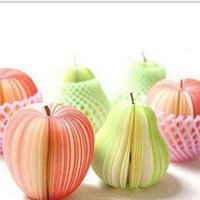 Wholesale Fruit Note Memo Pads Portable Scratch Paper Notepads Post Sticky Apple Pear Shape