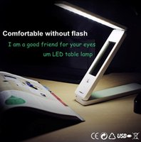 Wholesale White LED Foldable Rechargable Reading Desk Table Lamp Light Touch Control switch rechargable dimmable foldable with calendar DK712LD