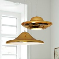 halogen light - UFO Gold Pendant Lights American Style Drop Light Wrought Iron Hanging Lamps Modern Luxury Restaurant Lighting E27 V V