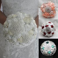 Wholesale Bridal Wedding Bouquet High Quality Handmade Rose Crystal Pearl And Diamond pc Bride Holding Flowers Dhyz