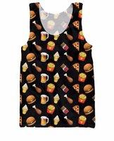 beer tank tops women - Junk Food Emojis Tank Top pizza beer chicken fries ice cream cones and cheeseburgers print Vest Jersey For Women Men Plus Size