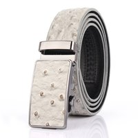 Wholesale Fashion Cool New Ostrich pattern Second layer leather Belt for Men Automatic buckle Belts Black white blue brown orange color PROMOTION