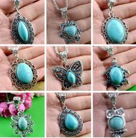 animal jewelry - Luxury women girl Natural Turquoise Stone necklaces cute tibet silver Sweater Chain animal cartoon Pendants Necklace charm jewelry