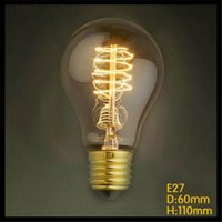 Wholesale 110 V or V K A19 Vintage Spiral W E27 Incandescent Edison Light Bulbs tungsten filament retro home decor sailing
