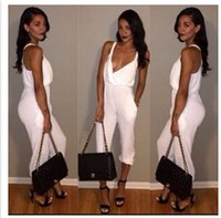 plain clothing - 2015 New Women Sex Clothing Lady Jumpsuit Fashion Plain White Rompers Big Girl Nightclub Sexy Pant One Piece Clothing Hot Sale A11685