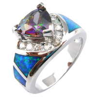 Wholesale mystic crystal opal RING with MYSTIC RAINBOW stone fashion opal rings OR026A