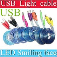 Cheap 2000pcs Visible Micro USB V8 Charger Cable LED Color Light for Samsung Galaxy Data Smiley Flashing 1M Noodle Charging Cords