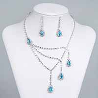 Wholesale Sky Blue Rhinestone Bridal Jewelry Sets Earrings Necklace Crystal Bridal Prom Party Pageant Girls Wedding Accessories Cheap A