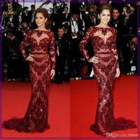 Cheap 2014 Cheryl Cole Zuhair Murad Dress Cannes Red Carpet Sexy Burgundy Lace Celebrity Dress Evening