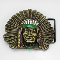 Wholesale American cowboy indian leader people belt buckle colorful man belt buckle special gift