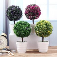 Cheap Sakura snow ball tree, plastic pots, artificial bonsai tree, Mini bonsai plant, wholesale~