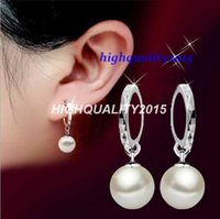 Wholesale S925 sterling silver earrings Ms glass shell pearl jewelry rhodium cars flowers round the top women s jewelry