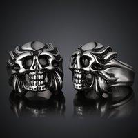 band of skulls - Valentine s Day Vintage Stainless Steel Ring for Men Lord of Ring Smiling Skull Skeleton rings Band new punk ring JZ0089 GMYR032