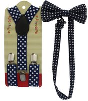 Cheap Free Shipping 2015 New Fashion Kids Dark Blue Navy Dot Suspender And Bow Ties Sets For Boys