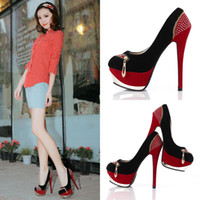 Wholesale 2014 The latest Trends Under US60 In Stock Women s Dress Shoes Cheap Fashion Boots Rhinestone Sequins High heels cm Party Shoes Red X