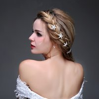 Wholesale Star Tiara Wholesale - New Silver Fashionable Handmade Shining Starfish Hair Decoration Accessories Tiara Jewelry Bride Headwear for Wedding