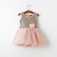 american d - 2015 Kids Girls sequins tulle lace dresses Baby girl fashion princess D flower tutu party dress children s clothing