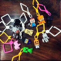 christmas craft supplies - Minecraft Mini Figures inch Mini Hangers Figure Keychains Toys Mine craft Creeper Steve Figure Backpack Pendant Toy Party Supplies Factory