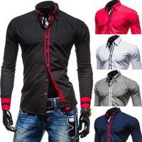 Wholesale New Fashion Men s Shirts Personality Male Long sleeve Slim Casual Shirt Colors Size M L XL XXL