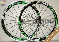 Wholesale New C FF WD Green painting mm clincher rim Road bike K carbon bicycle wheelset with alloy brake surface carbon wheels