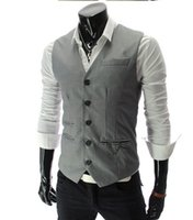 Wholesale Fall New arrival Men Suit Dress Vests Men s Fitted Leisure Waistcoat Casual Business Jacket Tops Single Breasted Ma3 jia3