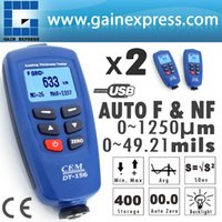 Wholesale 2 pieces x Digital DT Paint Coating Thickness Gauge Meter Tester um Auto F NF Probe USB Cable CD software