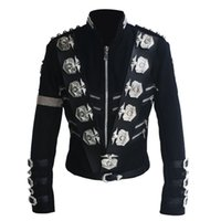Cheap Rare MJ Michael Jackson Classic BAD Jacket With Silver Eagle Badges Punk Exactly Same High woolen Clothing Performance Show Gift