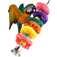 Wholesale Newest Colorful Loofah Sponge Pet Bird Parrot Cage Macaw Cockatoo Cockatiel Conure Handmade Toy Plant Fibre Parrot Chew Toy