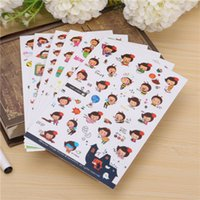 Wholesale 6 Honey Bee Cartoon Girl Transparent Stickers Scrapbook Calendar Diary Planner Decorative Paper Sticker