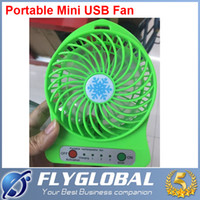 Wholesale 2015 NEW Portable Mini USB Fan Rechargeable Battery Operated LED Lamp for Indoor Outdoor Kids Table Mini Fan Cooling Free DHL