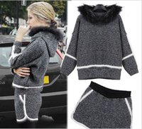 Wholesale 2014 Fashion leisure small sweet wind super keep warm outfit suit imitation mink wool joining together hoodies shorts movement suits