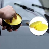 Wholesale High Quality Useful Waxing Yellow Round Car Care Foam Wax Sponges Buffing Polishing Car Accessories Tools