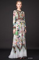 Wholesale Luxury High Quality Fall Spring Ethnic Dress Long Sleeve Expansion Botton Ankle length Elegant Embroidery Flower Dress