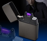Wholesale 1pc Luxury Man s Gifts Electric Arc USB Rechargeable Lighter Flameless Windproof Cigar Cigarette Lighters New