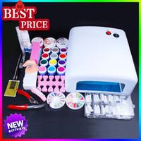 Wholesale Professional Nail Art Set W UV GEL Lamp Color UV Gel builder uv gel Nail Art DIY Tool Kits Sets