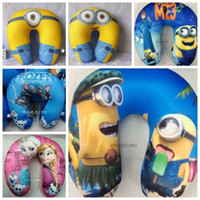 Wholesale 30CM despicable me minion pillow u shape neck foam pillow foam particles pillow cartoon u neck travel pillow cute frozen pillow in stock