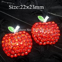 apple centers - 50pcs X23MM Apple Rhinestone Buttons flatback for flower centers RMM87