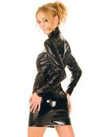 Wholesale Plus Size Black PVC Dress Vinyl Latex Sexy Catsuit Costume Long Sleeve PU Leather Lingerie Catwoman Bondage Clubwear Clothes