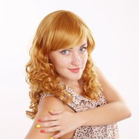average fashion model - European and American female fashion style inches gold yellow wigs long curly wig real model shooting and retail YL014
