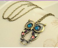 antiqued brass chain - Vintage Retro Promotion Colorful Crystal Owl Pendant and Long Chain Necklace with Antiqued Bronze Brass Finish