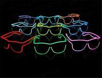 Wholesale HOT colors Simple el glasses glasses Neon LED Light Glow Rave Costume Party DJ Bright Glasses D605