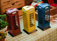 bank kiosk - New Style London Street Kiosks Retro Ornaments Painted Tin Piggy Bank Color Creative Telephone Booth Money Box Cash Box