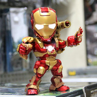 Wholesale The Avengers Super Hero Marvel Iron Man MK42 cm PVC Action Figures Collection Model Toys LED Flash Light Dolls With Gun Flag