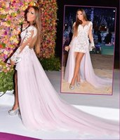 Cheap Pink Long Sleeve Prom Dresses 2015 Sheer See through Back High Low Evening Dress Ruched Lace Appliques Plus Size Dresses Party Evening